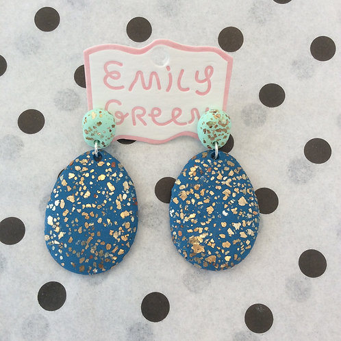 Turquoise and Navy Terrazzo Drop Earrings
