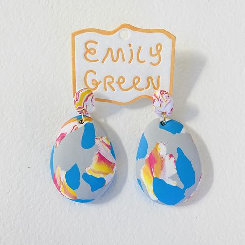 Emily Green Drop Earrings Grey Ink