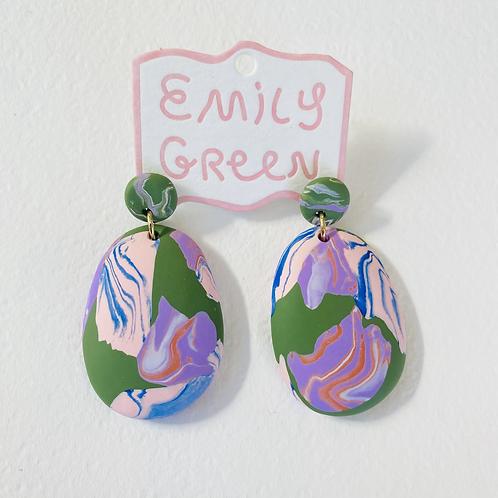Emily Green Drop Earrings Rock Pools