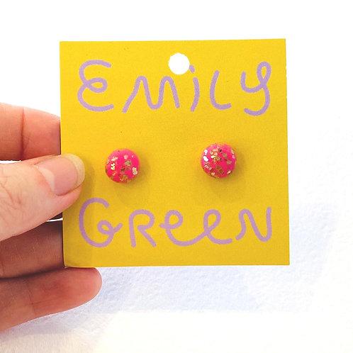 Emily Green stud Earrings Lipstick & Gold
