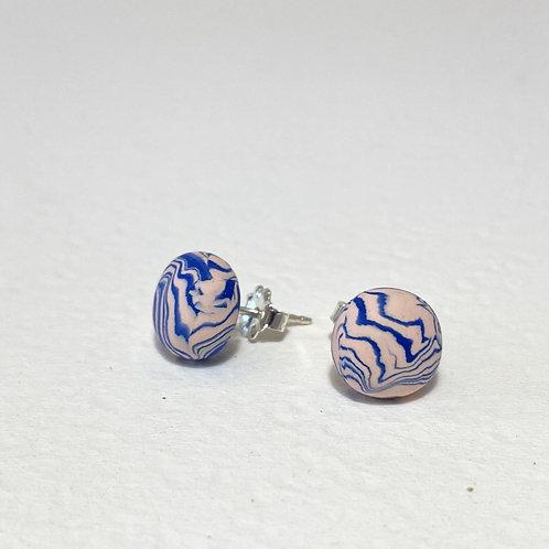 Emily Green stud Earrings Shell Pink & Turkish Sea Blue