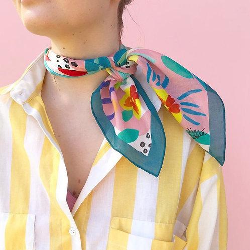 """Abstract Oz 25"""" x 25"""" silk/cotton scarf"""