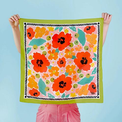 """Julie White Tropical Garden 25"""" x 25"""" silk/cotton scarf"""