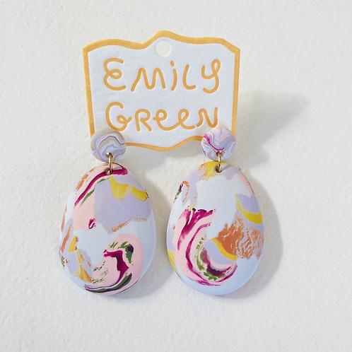 Emily Green Drop Earrings Sea Smoke