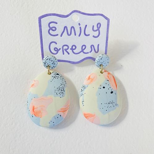 Emily Green Drop Earrings Alp Blue & Bone