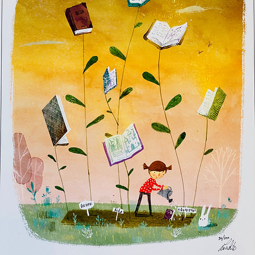"""Book Garden""  Lee White Signed Print"