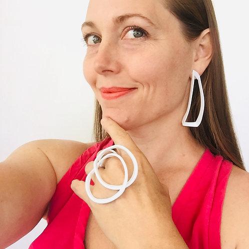 Laura Wood Studio Linear Drop Earring & Open Wave Ring