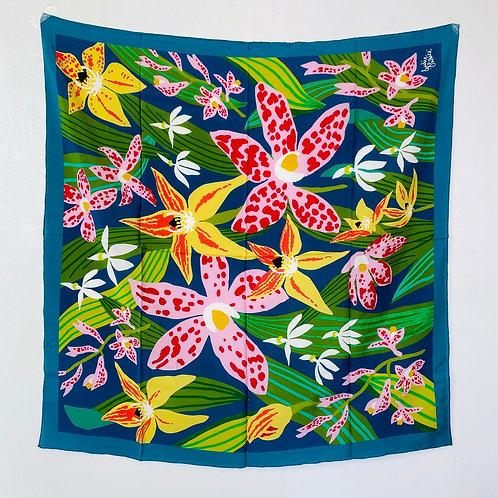 "Wild Orchid 35""x35"" silk scarf"