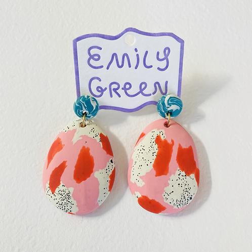 Emily Green Drop Earrings Magnolia Speckle