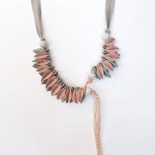 Cecilia Borghi Two Sided Ceramic and Linen Necklace
