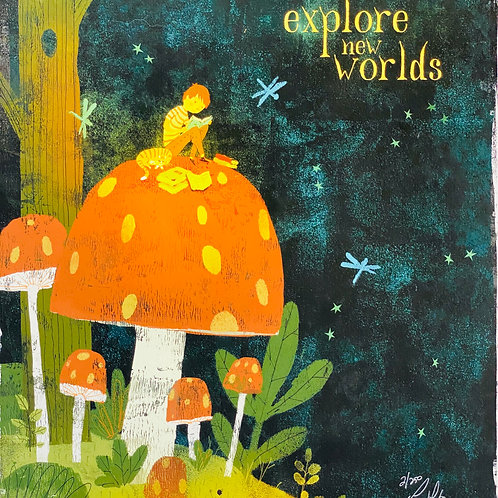 """""""Explore New Worlds""""  Lee White Signed Print"""
