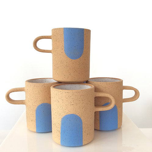 Color Dot Hand Thrown Clay Mugs