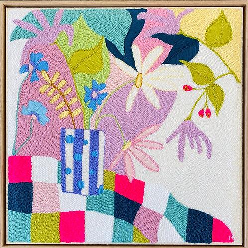 Checkered Blooms Monica Henry Fiber Art