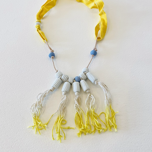 Cecilia Borghi Ceramic and Linen Necklace