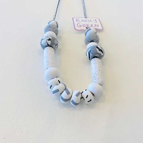 Emily Green White and Fog Tape Necklace