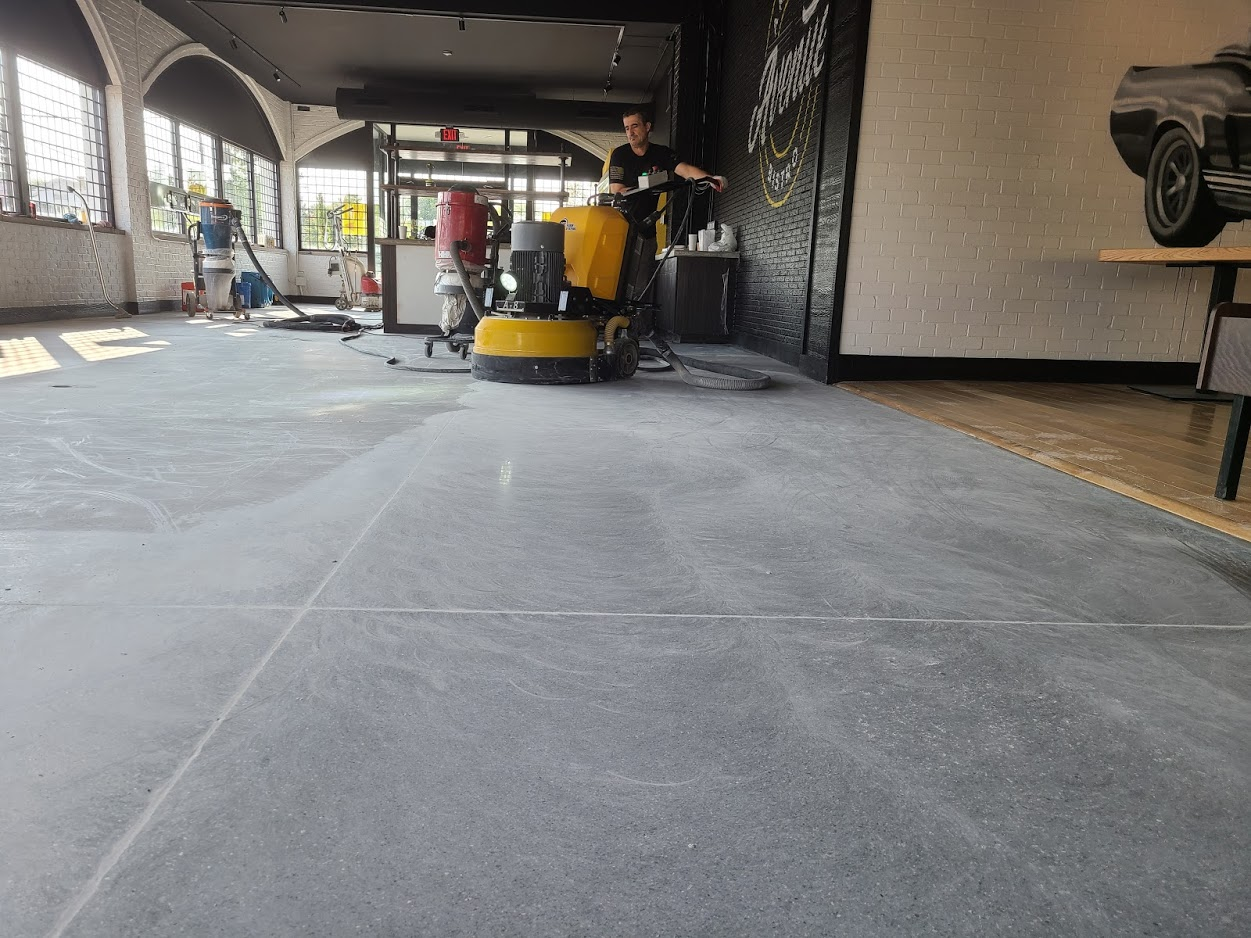 Concrete polishing in process