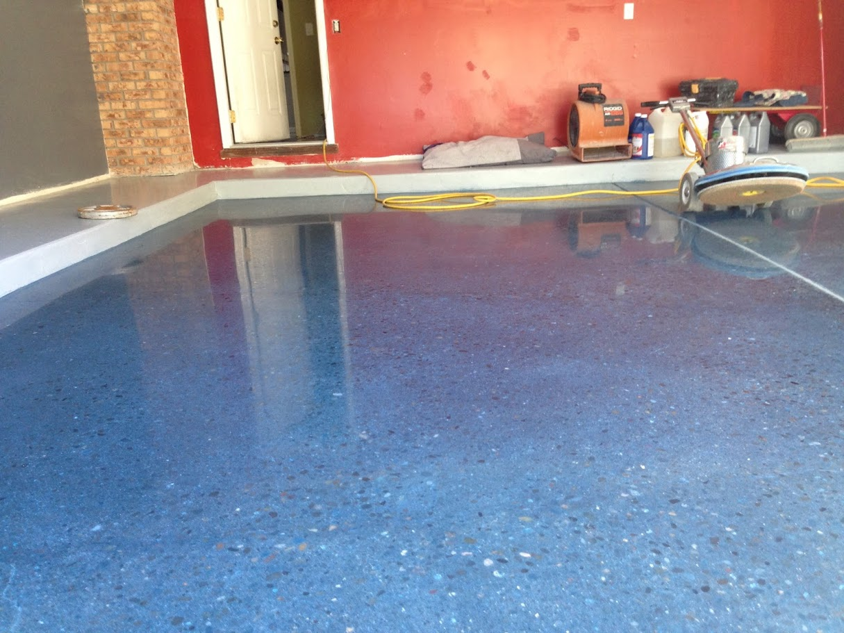 Polished concrete blue dye