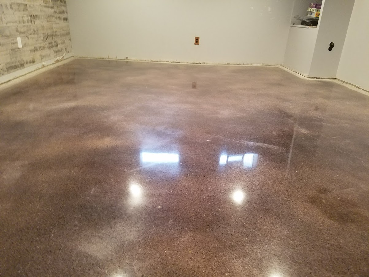 Basement polished concrete