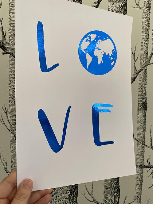 Love our Earth - A4 - blue foil (1)