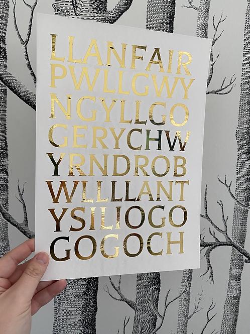 LlanfairPG - A4 - gold foil