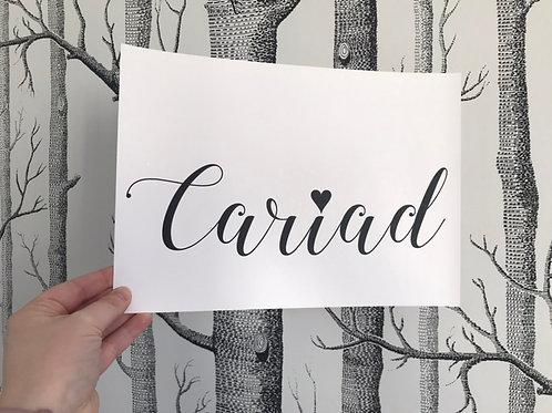 Cariad - A4 - Black (Non-Foil)
