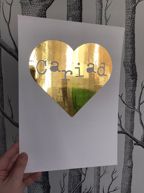 Cariad Filled Heart - A4 - Gold