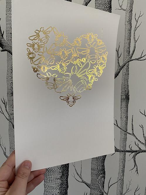 Bee heart - A4 - gold foil