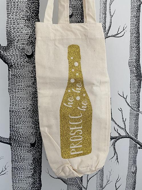Prosecc-ho-ho-ho bottle bag - gold glitter