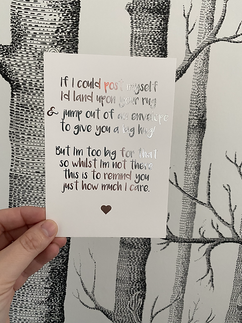 If I Could postcard - Silver foil