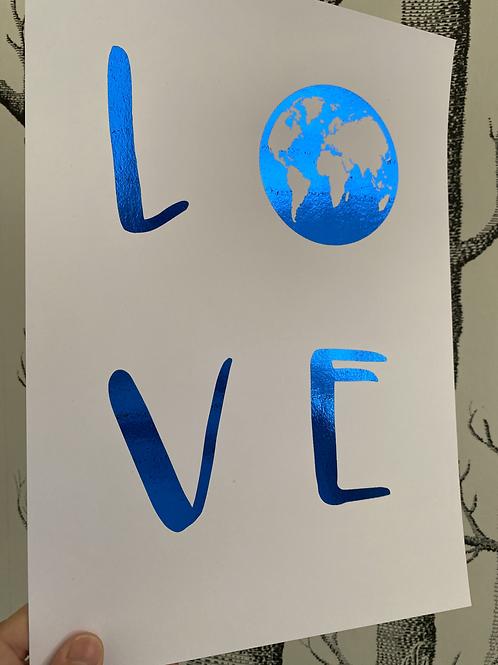 Love our Earth - A4 - blue foil (2)