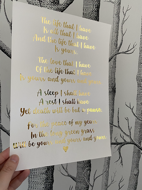 The Life That I Have - A4 - gold foil (1)