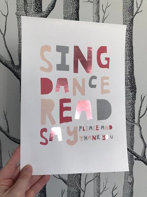 Sing Dance Read - A4 - Pink