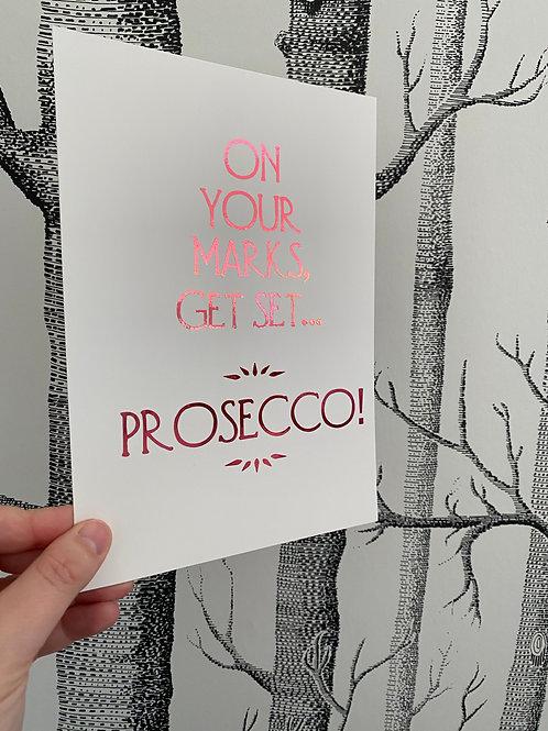 Prosecco print - A5 - bright pink foil
