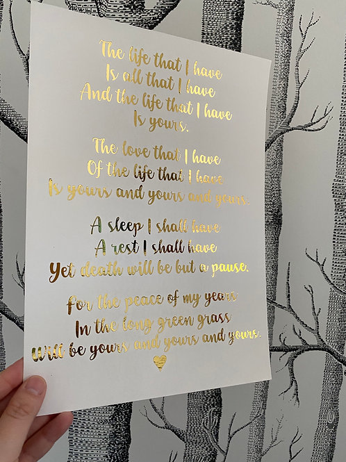 The Life That I Have - A4 - gold foil (2)