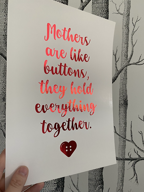 Mothers - A4 - red foil