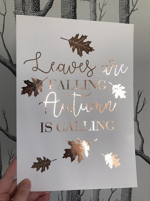 Leaves Are Falling - A4 - Rose Gold