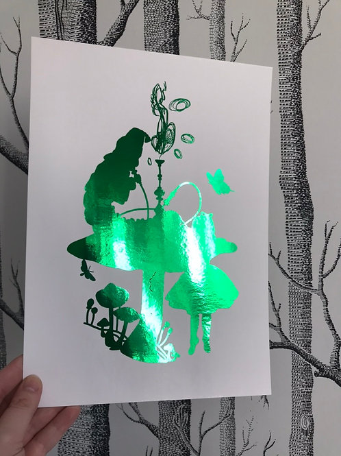 Alice In Wonderland - A4 - Green