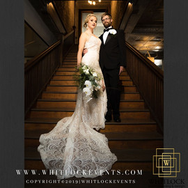 bride & groom on staircase