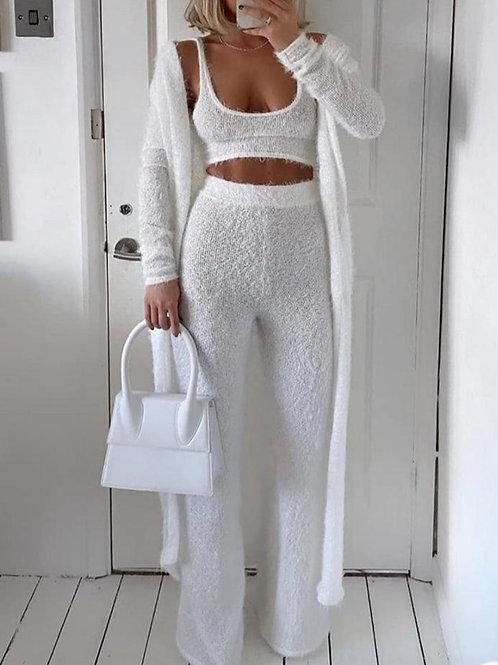 Solid Fluffy 3 Piece Loungewear Set