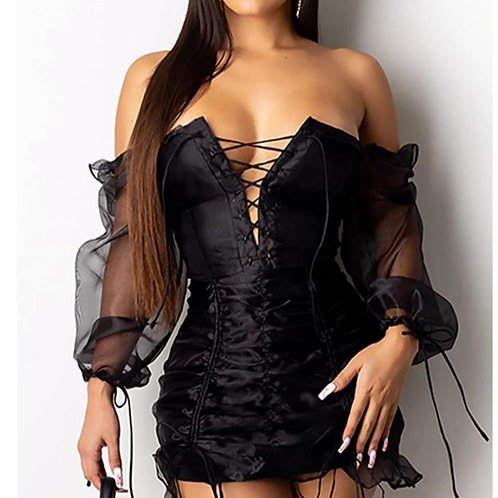 Mesh Lace Drawstring Ruched Dress