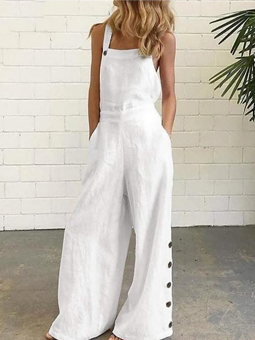 Pocket Design Wide Leg Suspender Jumpsuit