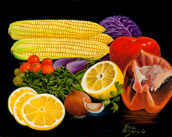 CORN, LEMONS, ONION, GARLIC, TOMATOES, PEPPERS, RED PEPPERS, PURPLE CABAGE, VEGITABLES, KITCHEN PAINTINGS, oil painting