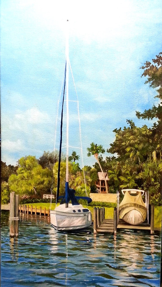 SAIL BOAT, MOTOR BOAT, HARBOR, ANCHORED BOAT, FLORIDA WATERS WITH BOAT, reflections, dock, palm trees