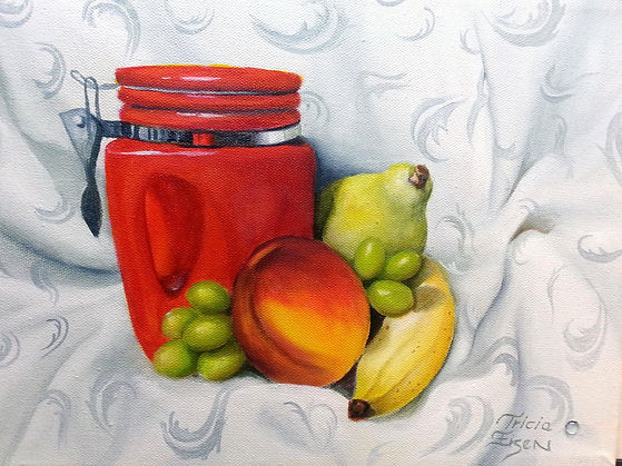 STILL LIFE, RED CANASTER, FRUIT STILL LIFE, banana, pear, nectaine, kitchen painting, oil painting