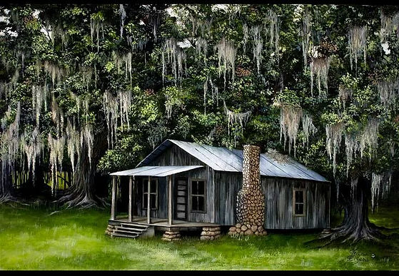 Southern cabin, spanish moss, oak trees, live oak trees, cracker house, florida cabin, rock chemeny