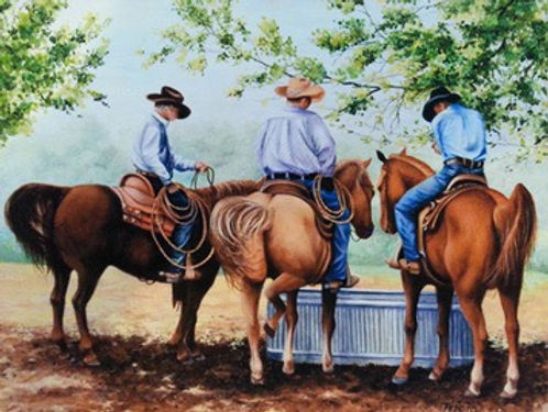 HORSES, ROUND-UP, BROWN HORSES, COWBOYS, RANCHERS, PASTURE. TUB, watering tub, ranch painting
