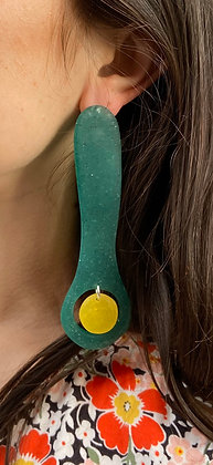Big Chunky Green and Yellow Statement Earrings