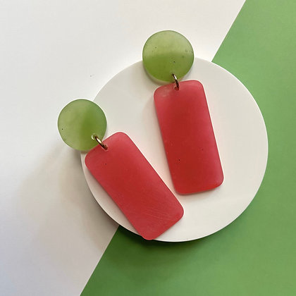 Green and Pink hypoallergenic Handmade Dangle Watermelon Inspired Earrings