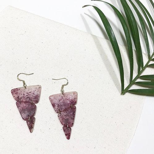 Trendy Purple White Gradient Statement Earrings