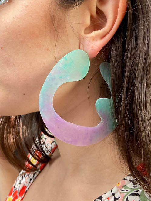 Big Chunky Purple and Teal Ombre Statement Hoops